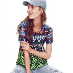 J. Crew Gemstone floral silk T-shirt